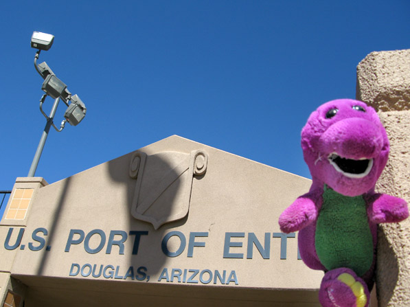 Barney Crossing Border at US Port of Entry Douglas, AZ
