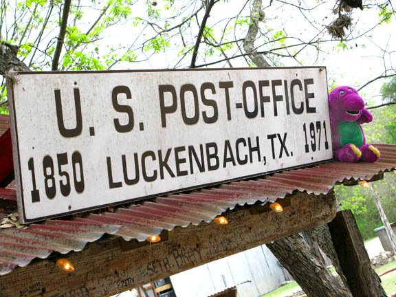 Barney at the Luckenbach, Texas General Store