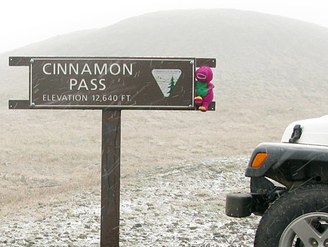 Cinnamon Pass Elevation Sign Lake City Colorado Jeep Rental